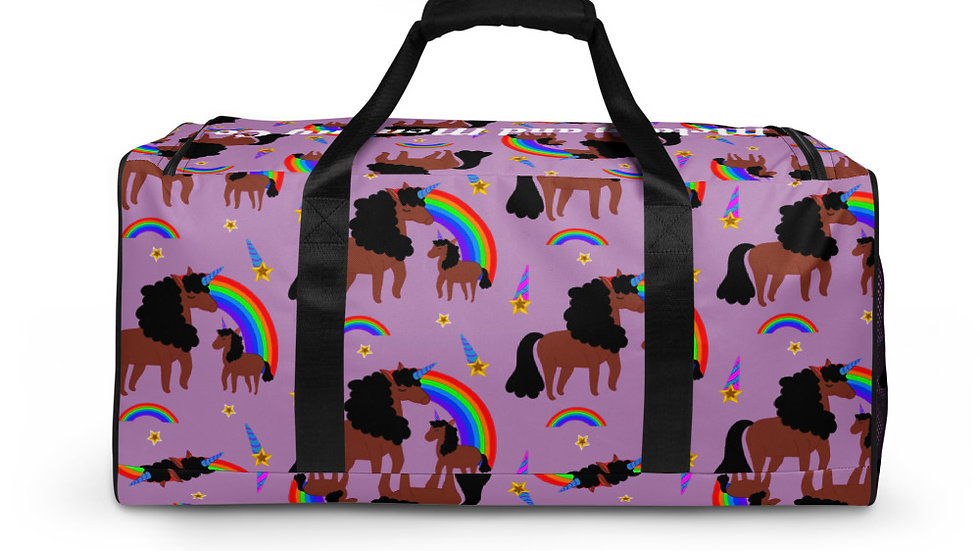 """All-Over Print """"Mommy and Daughter Unicorn"""" Duffle Bag Purple"""