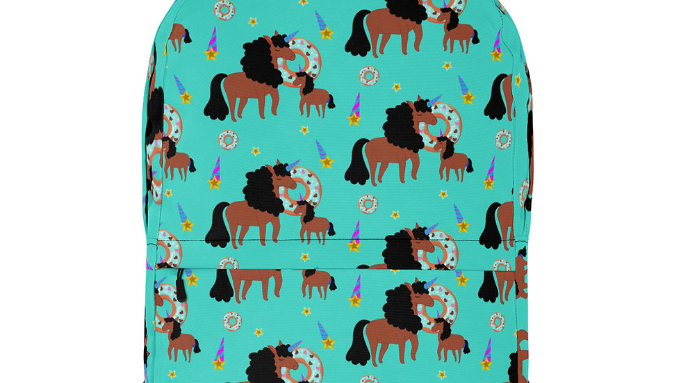 All-Over Mommy and Daughter Unicorn Print Backpack Turquoise