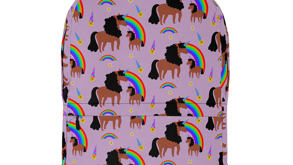 All-Over Mommy and Daughter Unicorn Print Backpack Purple