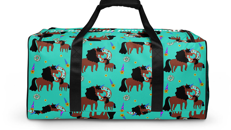 """All-Over Print """"Mommy and Daughter Unicorn"""" Duffle Bag Turquoise"""