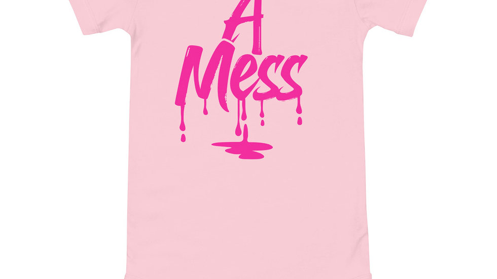 """Baby """"A Mess"""" short sleeve one piece"""