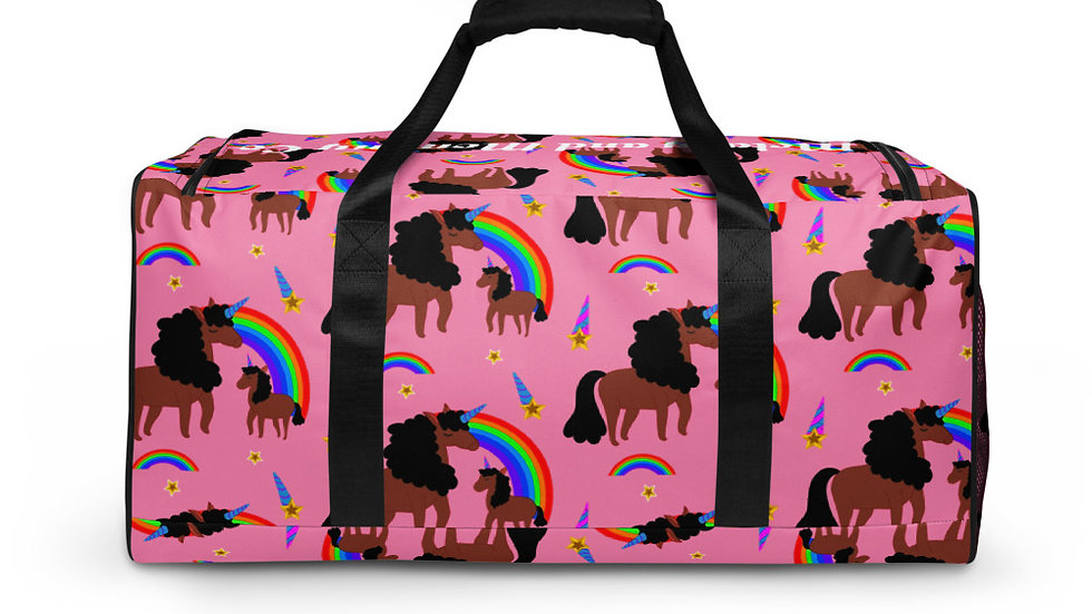 "All-Over Print ""Mommy and Daughter Unicorn"" Duffle Bag Pink"