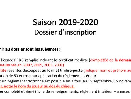 Dossier licence saison 2019-2020