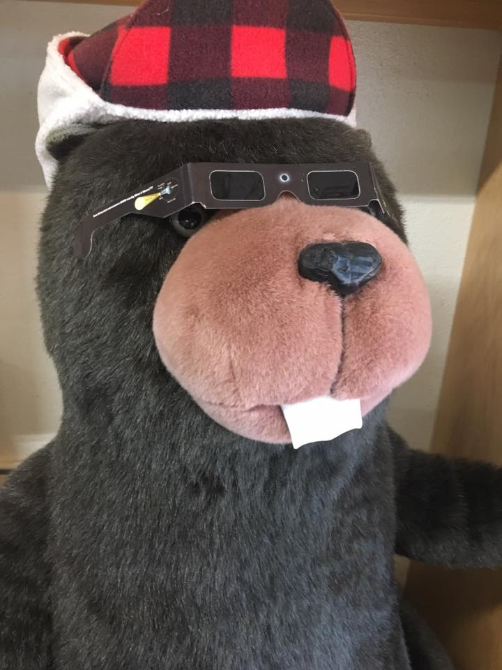 Bucky Beaver enjoyed the eclipse