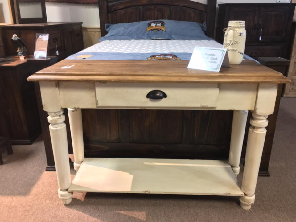 sofa table cream wood rustic