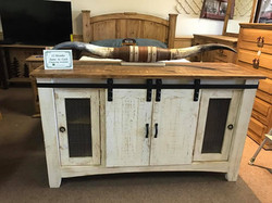 Buffet TV stand barn door white wood
