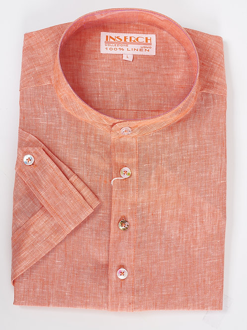 INSERCH I 731 S/S LINEN SHIRT I PAPAYA -96