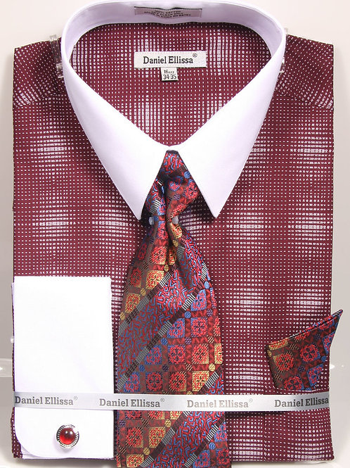 DANIEL ELLISSA I DS3796P2 FRENCH CUFF SHIRT I BURGANDY