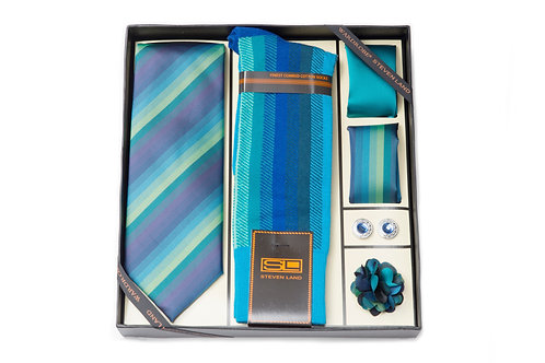 Steven Land Wardobe Gift SetI6pc Tie, Hankies (2), Sock, cufflink and boutineer
