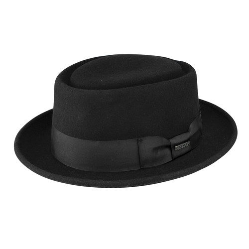 82b83241159 STETSON I CRANSTON WOOL FELT PORK PIE HAT I BLACK
