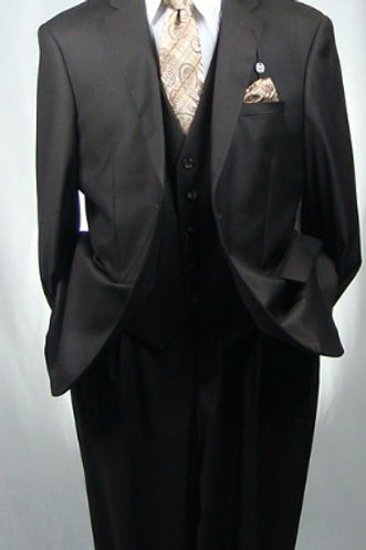 CARAVELLI I S60512W 3PCS VESTED SUIT-CHOCOALTE BROWN