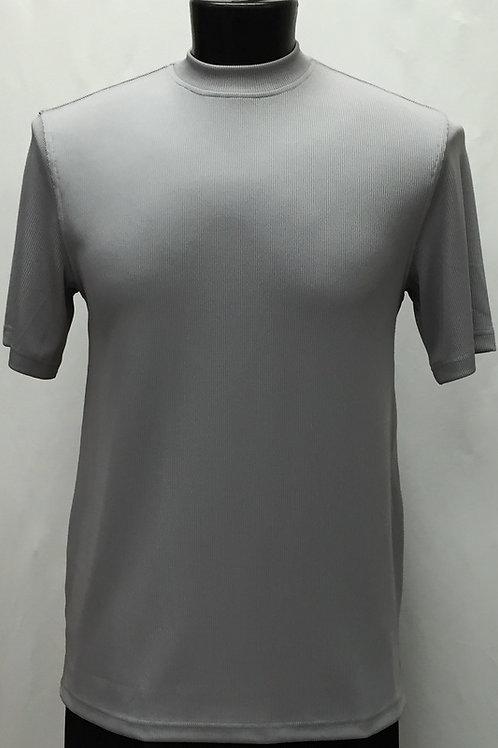 Log-In By Bassiri -218 - Short Sleeve Mock Neck-GREY