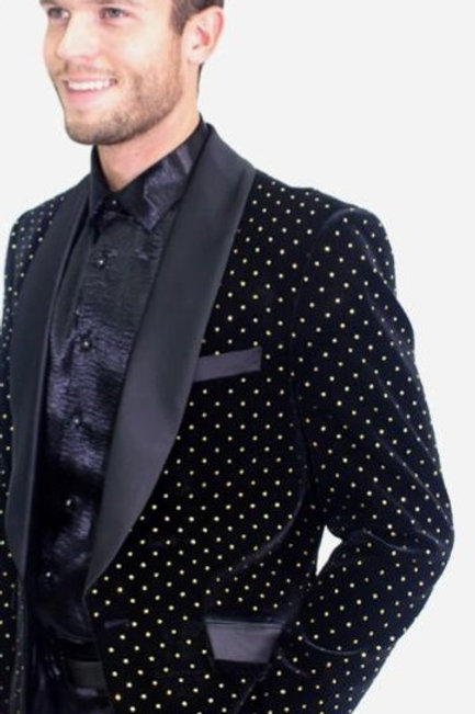 BL3020 I BARABAS BLAZER SLIM FIT WITH MATCHING BOW TIE  I BLACK/SILVER