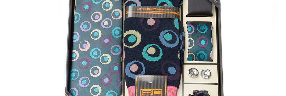 Steven Land Wardobe Gift SetI6pc Tie, Hankies (2), Sock, cufflink and boutineer
