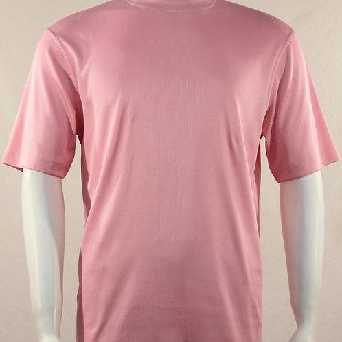 Log-In By Bassiri -218 - Short Sleeve Mock Neck-Pink