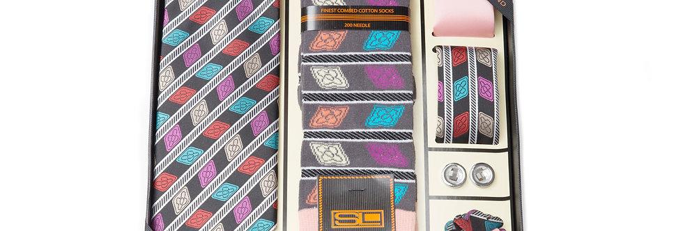 Steven Land Wardobe Gift SetI6pc Tie, Hankies (2), Socks, cufflink and boutineer
