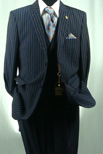 FALCON 3PC SUIT-NAVY STRIPE