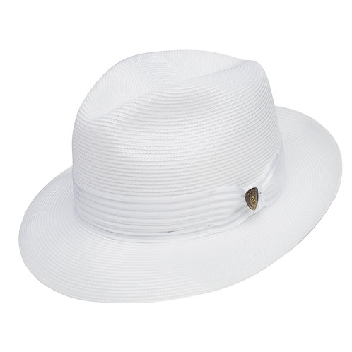 DOBBS-Harrod Straw Fedora Hat-White