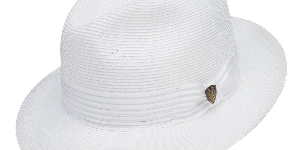 DOBBS-Harrod Straw Fedora Hat-White