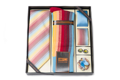 Steven Land Wardobe Gift SetI6pc Tie, Hankies (2), Socks, cufflink and boutineer