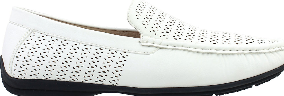 STACY ADAMS I 25172 I CICERO PERFED MOC TOE SLIP ON I WHITE-100