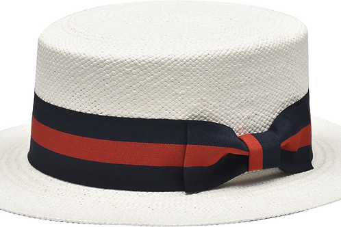 BC-631 I BRUNO CAPELO BOATER  I WHITE- RED /BLUE BAND