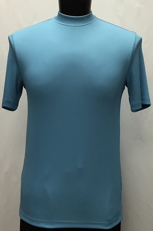 Log-In By Bassiri -218 - Short Sleeve Mock Neck-TURQUOISE