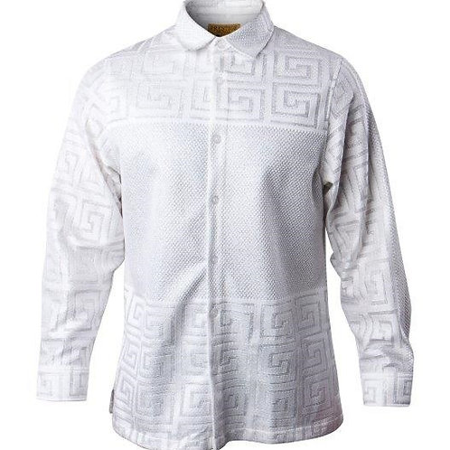 PRESTIGE I LACE-544 METALLIC  SHIRT I WHITE/SILVER