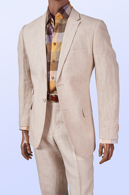 660125 I INSERCH 2 PIECE LINEN SUIT I 06-OATMEAL