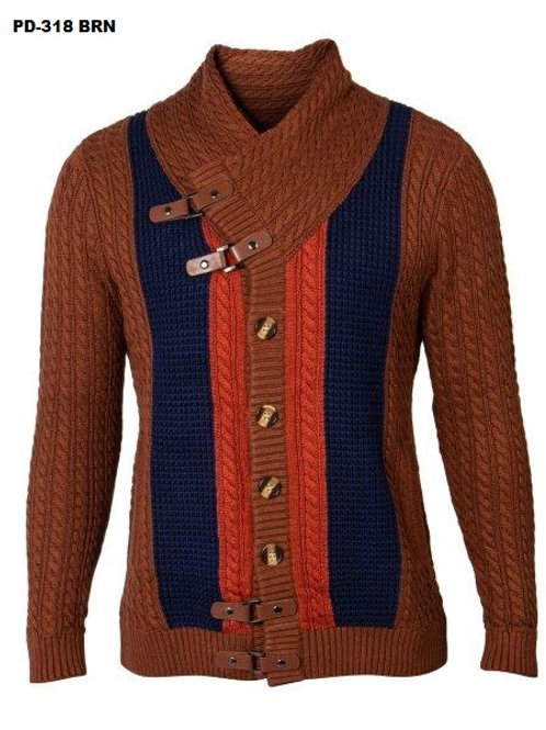 PD-318 I PRESTIGE SPACE NECK SWEATER  I BROWN