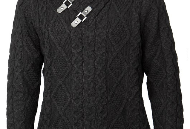 PD-257 I PRESTIGE LS PULL OVER SHAWL COLLAR SWEATER I BLACK