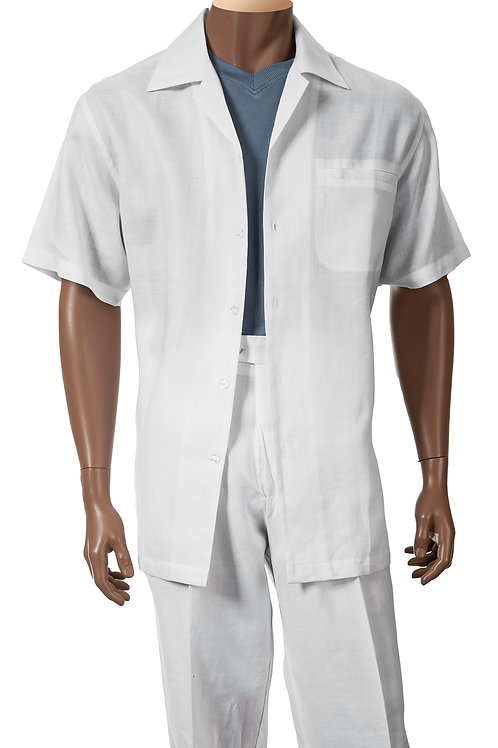GIORGIO INSERTI BY INSERCH I 93C34 I LINEN SHORT SLEEVE SET I 02 WHITE