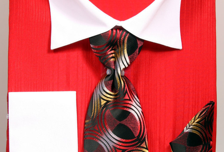 FRV414OP2 I FRATELLO SHIRT/TIESET /HANKY/CUFF LINK I RED