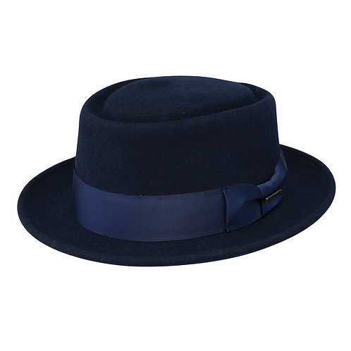 STETSON I CRANSTON WOOL FELT PORK PIE HAT I  NAVY