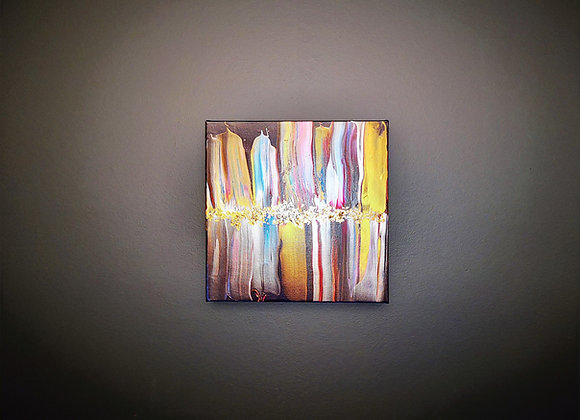 Tableau Acrylique 29x29cm Feuilles d'Or