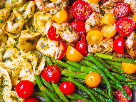 Alcoeur Apron's One-Pan Pesto Chicken with Tortellini & Veggies
