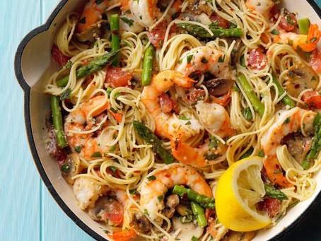 Alcoeur Apron's Asparagus 'n' Shrimp with Angel Hair Pasta
