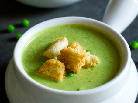 Alcoeur Apron's Spring Pea Soup with Leeks and Lentils