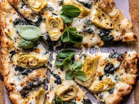 Alcoeur Apron's Spinach & Artichoke Pizza with Cheesy Bread Crust