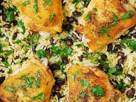 Alcoeur Apron's One-Pan Chicken Thighs with Cilantro-Lime Black Bean Rice