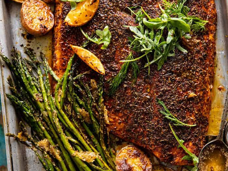 Alcoeur Apron's Sheet Pan Lemon Brown Butter Salmon and Potatoes with Parmesan Asparagus