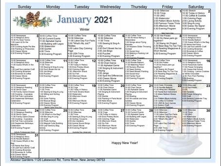 January 2021 Activities Calendar