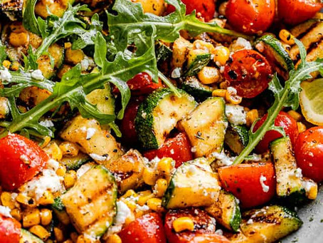 Alcoeur Apron's Grilled Zucchini Salad with Corn & Tomatoes