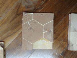 Hexagon End Grain Ponderosa pine with penetrating oil finish