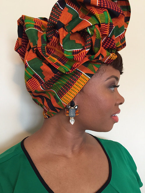 Traditional Kente Blue African Print Head Wrap