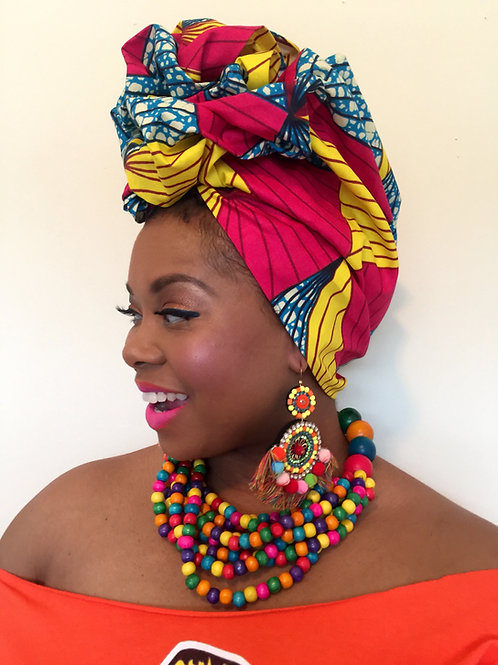"""Burst of Sunshine"" African Print Head Wrap"