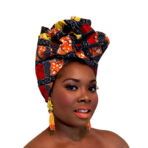 """Color Block"" Deep Navy, Yellow, White, & Red African Print Head Wrap"