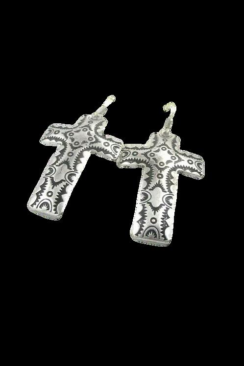 """""""The Cross"""" Silver Earrings"""