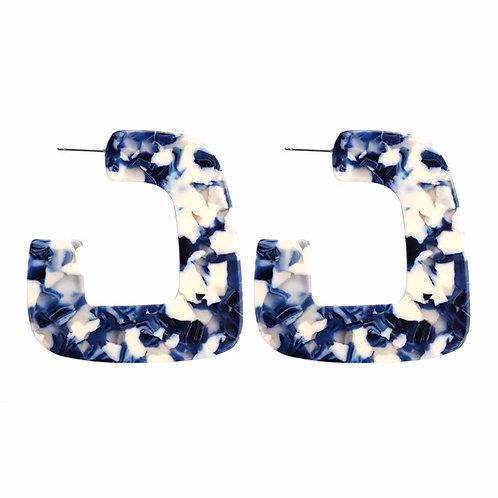 """""""Geometry"""" Acrylic  Earrings in Blue & White"""