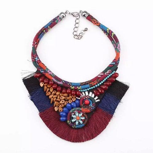"""Beads & Fringe"" Tribal Inspired Necklace"